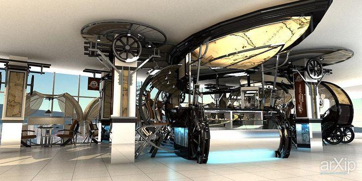 кафе ФАЭТОН: интерьер, промышленный дизайн, современный, модернизм, ресторан, кафе, бар, 80 - 100 м2, зал, колонна, стул, кресло, модернизм #interiordesign #industrialdesign #modern #restaurant #cafeandbar #80_100m2 #hall #column #chair #modernism arXip.com