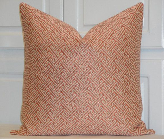 Decorative Pillow Cover - Greek Key - Geometric - Salmon and Natural - Cushion Cover - Chair Pillow