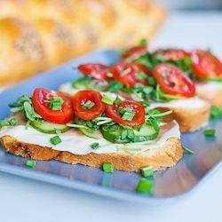 Prosciutto and Veggie Open Face Sandwiches