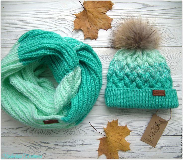 Купить Комплект - бирюзовый, шапка вязаная, шапка, шапка женская, шапка зимняя, снуд