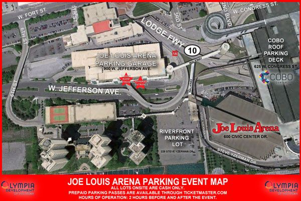 Follow Southbound Lodge (M10) to West Jefferson/Joe Louis Arena exit. This exit will place you directly in front of the parking garage.