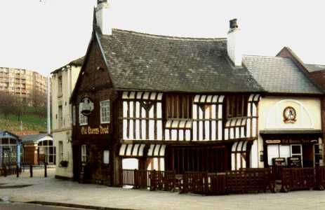 The Old Queen's Head is a pub on Pond Hill in the City of Sheffield, England. It is the oldest domestic building in the city, and is thought to date from c.1475. My grandfather worked at Ponds Forge, and he used to collect his wages here, every Friday! ... it is also quite haunted!
