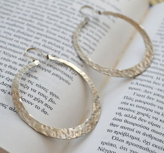 Alpaca silver hammered hoops by fanoulala on Etsy