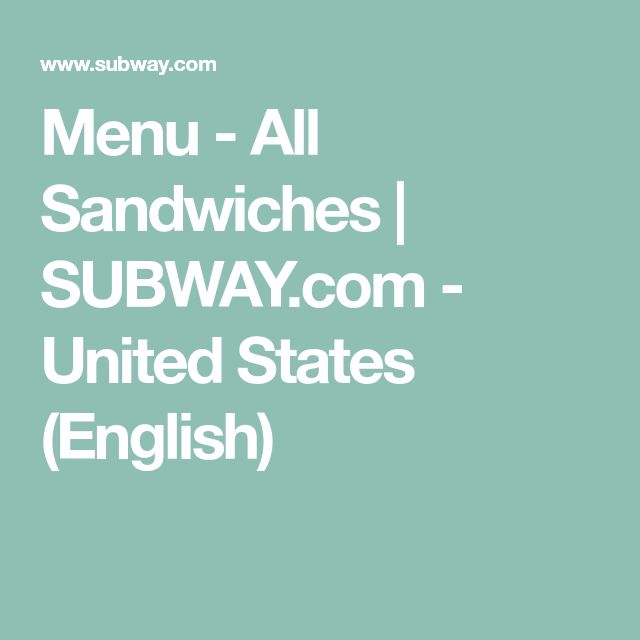 Menu - All Sandwiches | SUBWAY.com - United States (English)