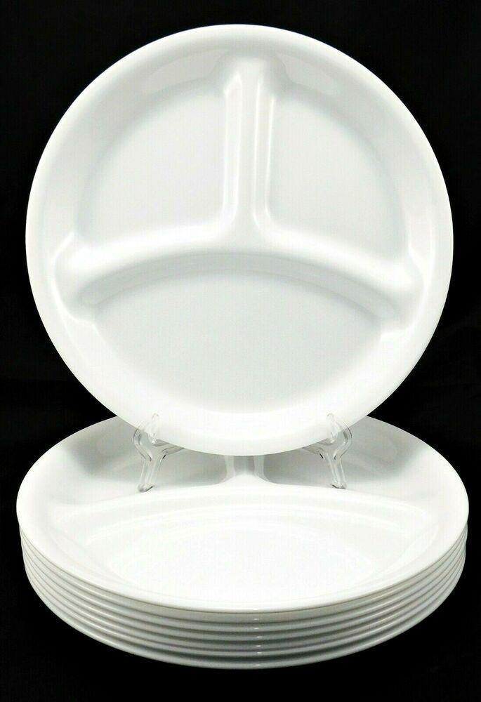 """CORELLE Set of 8 Divided Dinner Plates 8.5"""" Break Resistant White Glass Dishes #CORELLE 8 # ..."""