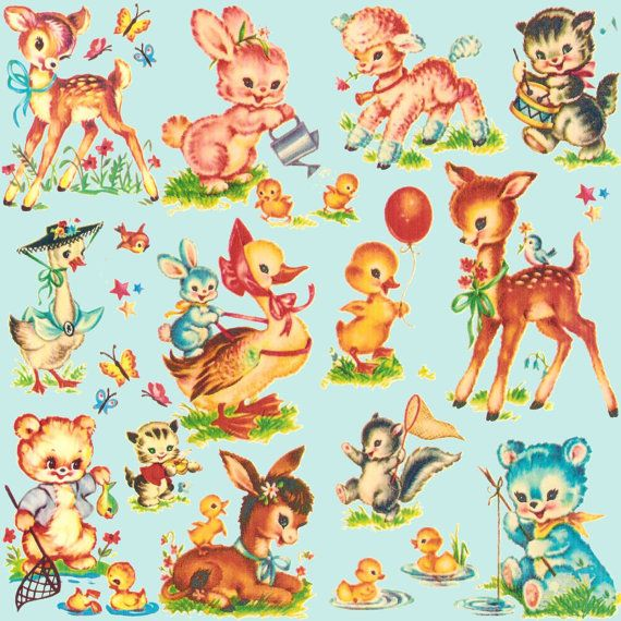 Favorite Baby Animals vintage style fabric deer bear poodle goose bird FQ by Paris Bebe