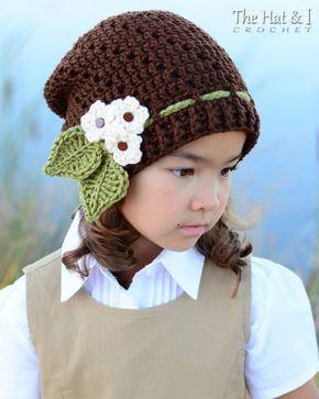 CROCHET КАРТИНЫ - Маленький бутонов громоздкая - это громоздкая узор вязания крючком шляпа с цветами, 3-х размеров (Малыш, Ребенок, Взрослый) - Мгновенный PDF Скачать