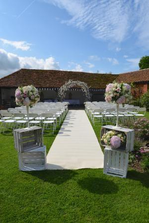 Cloister Garden set for an out door ceremony