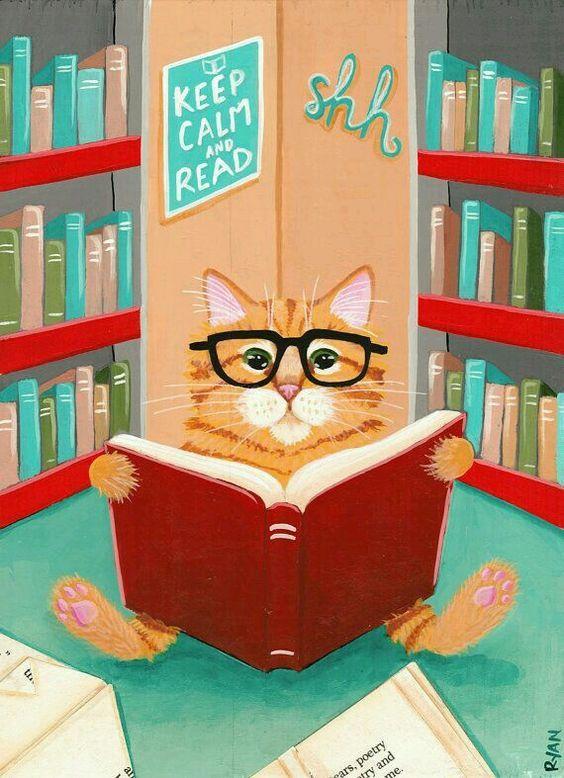 Смешные картинки за чтением книги