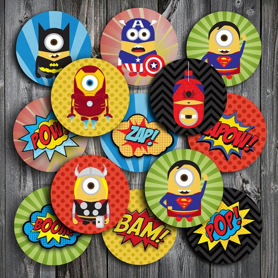 MINION Superhero cupcake toppers INSTANT by PartyFunStudio, $4.50