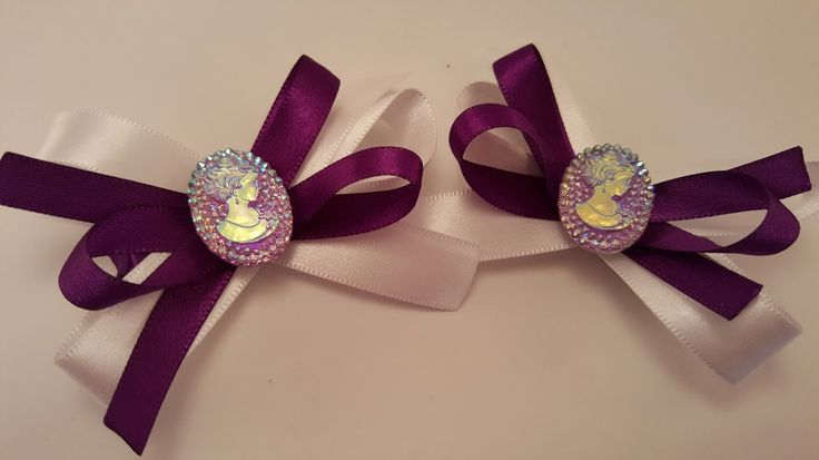 Pair of Purple and White Hair Bows, Ladies Hair Bow, Unique Hair Bow, Girls Hair Bow, Satin Hair Bow, Clip, by LudicBows on Etsy