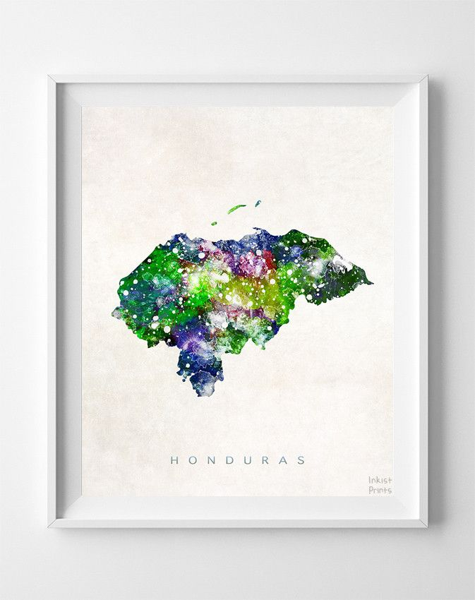 Honduras Watercolor Map Print