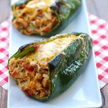Stuffed Poblano Peppers (adjustment for scd - use Monterey Jack instead of Mozzarella.)