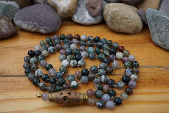 Jasper Mala Necklace 108 Beads Green and Gray Jasper