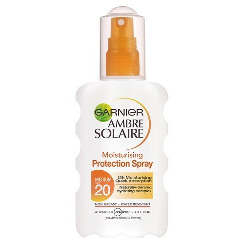 Garnier Ambre Solaire Protection Spray SPF20 , 200ml Garnier https://www.amazon.co.uk/dp/B000WZNIG6/ref=cm_sw_r_pi_dp_82nkxbY9770TJ
