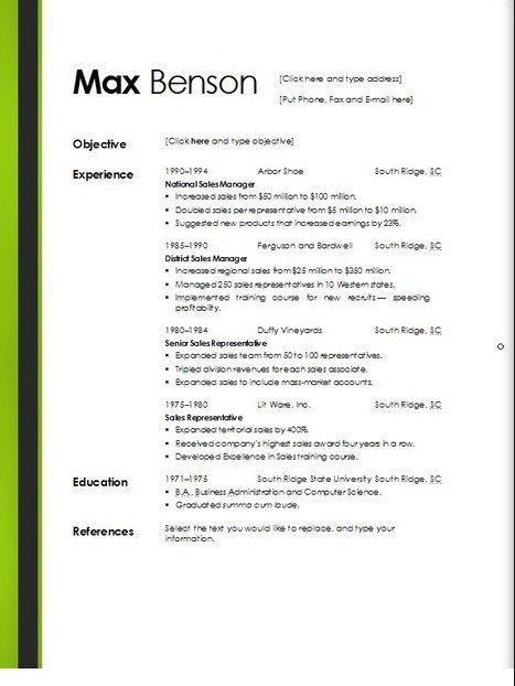Downloadable Resume Templates Microsoft Word