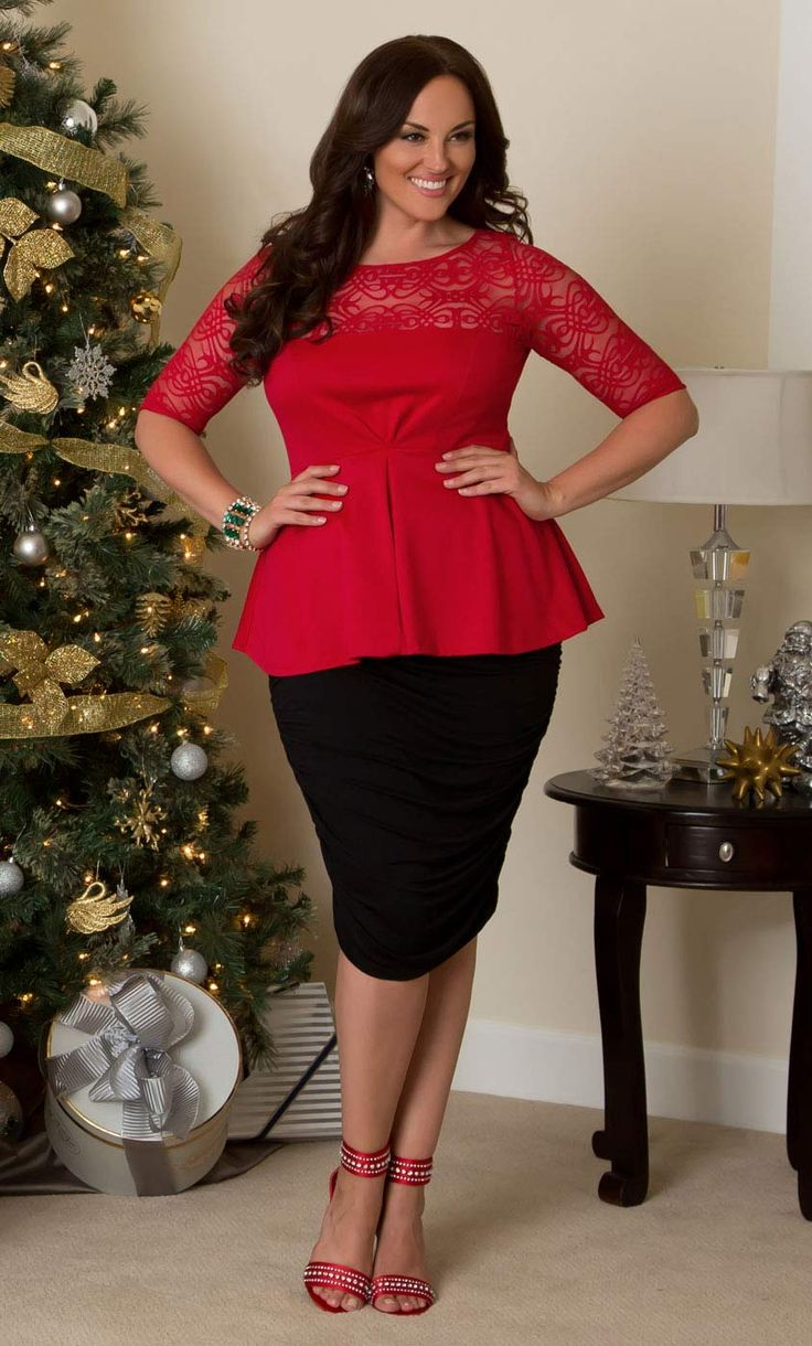Get in the spirit of style and show up to your holiday festivities in our plus size Allure Lace Peplum Top in a beautiful ruby red.  www.kiyonna.com  #KiyonnaPlusYou  #MadeintheUSA