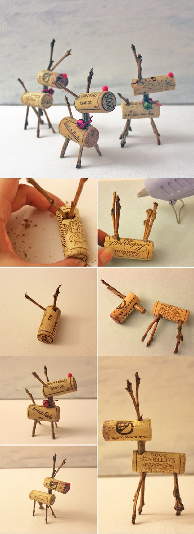 Easy Christmas Decor Ideas: Reindeer Corks | Easy DIY Wine Cork Decor Project by DIY Ready at http://diyready.com/more-wine-cork-crafts-ideas/: