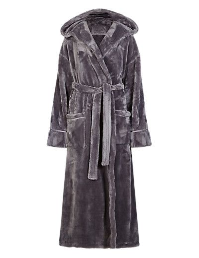 Hooded Luxury Dressing Gown in Ash Grey   M&S