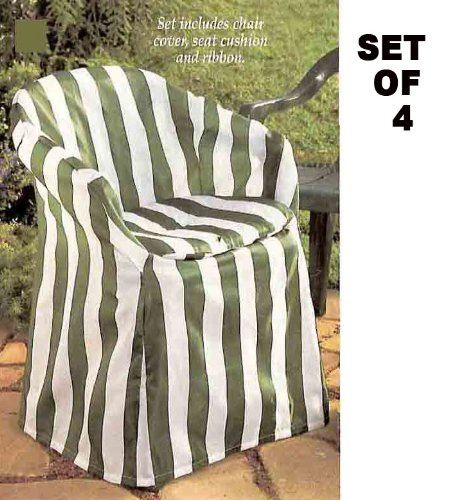 Outdoor Chair Covers With Pads (Green Stripe Decorative) Set Of 4   Http