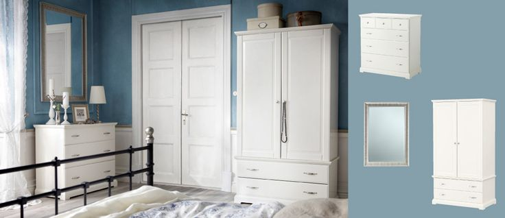 BIRKELAND hvit garderobe med dører/skuffer og kommode