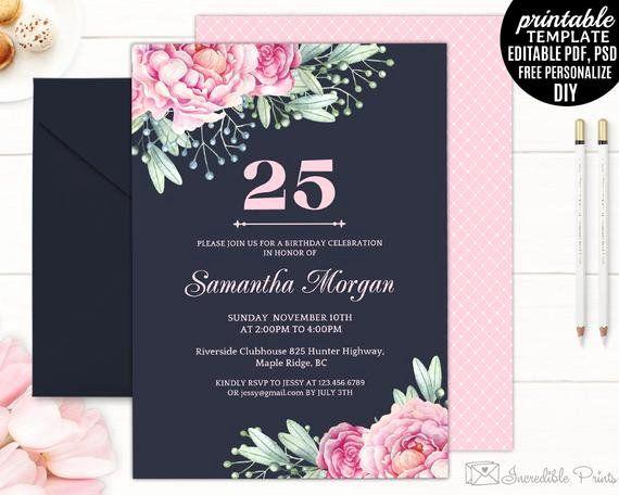 25th birthday invitation wording