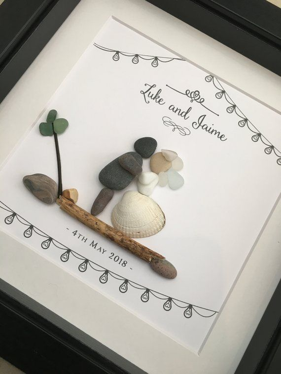 Pebble Art Wedding Shabby Chic Gift. Personalised Picture Handmade & Framed to Order • Sea Glass • 2 Sizes Boho Vintage