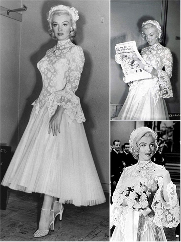 The famous Travilla tea length wedding gown worn by Marilyn Monroe in one of her film.