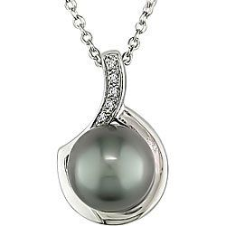 Amazon.com: Sterling Silver Black Pearl and Diamond Necklace (9-10 mm): Jewelry