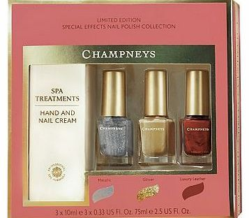 Champneys Special Effects Nail Polish Collection 64 Advantage card points. This gorgeous Champneys Special Effects Nail Polish Collection Gift has everything you need for beautiful hands and amazing nails! It includes three special polishes and a ha http://www.comparestoreprices.co.uk/nail-products/champneys-special-effects-nail-polish-collection.asp