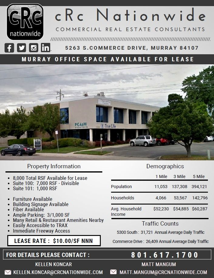 ForLease #OfficeLease #MurrayOffice #CRE