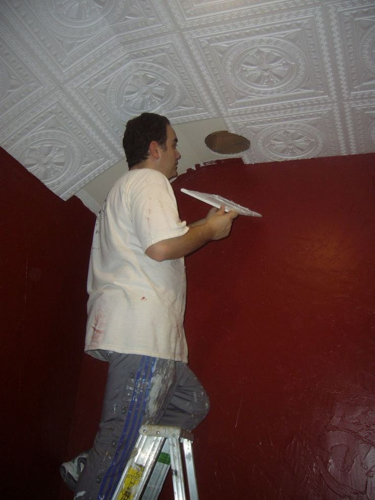 Ultra light styrofoam tiles that provide insulation and sound protection were used in white color and then painted in a gold finish.Home Theater Remodel Before During And After