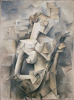 Girl with a Mandolin, Artist: Pablo Picasso, Date of work: 1910, Art movement: Cubism (slightly abstract and fragmented to a low degree, the image is still easily identifiable. In this artwork, although it looks like a fragmented image, a clear image is still seen.)