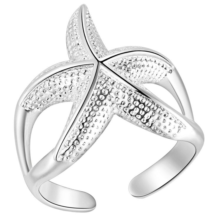UFOORO New Year Valentine ring open Twinkle Nautical Beach crystal starfish opening Starfish Ring for Party Women silver Jewelry