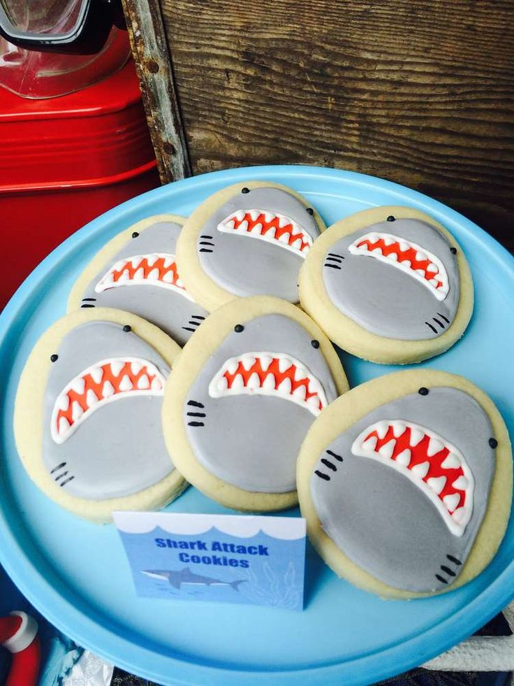 Fun cookies at a shark birthday party! See more party ideas at CatchMyParty.com!