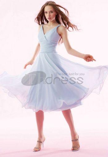 A-Line/Princess V-neck Knee-Length Chiffon Charmeuse Bridesmaid Dresses