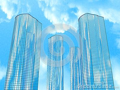 Four skyscrapers on a background of sky and clouds.  3D illustration