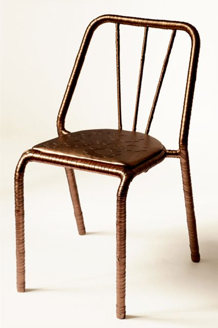 BRONZE FLOWER CHAIR - iron, eco leater