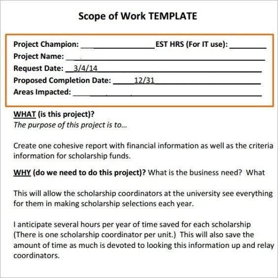 17 Free Scope Of Work Templates In Word Excel Pdf Daily