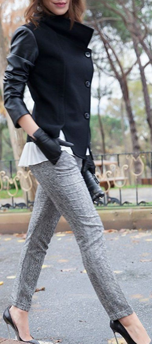 Office Jacket And Grey Jeans -  50 Hot Spring Outfits On The Street @styleestate
