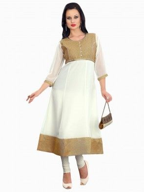 White Georgette Anarkali Kurti With Embroidery Work