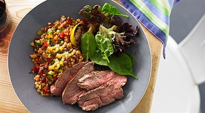 Lamb Rump Steaks with Red Lentil Salad