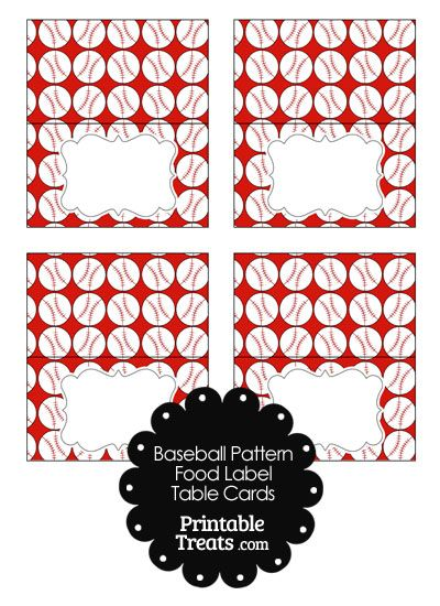 Red Baseball Pattern Food Labels from PrintableTreats.com