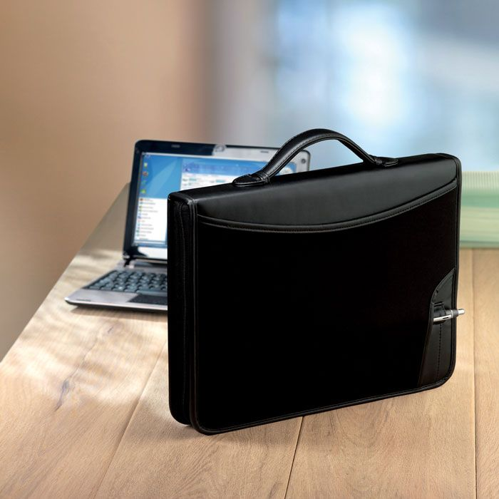 Zipped 12 inch laptop pouch and portfolio with inner compartments. Made in PU leather and neoprene. Includes a 25 page blank notepad. #promotional #merchandise #branding #advertising #promotionalproducts #design #lovemerch hello@giftfinder.uk.com