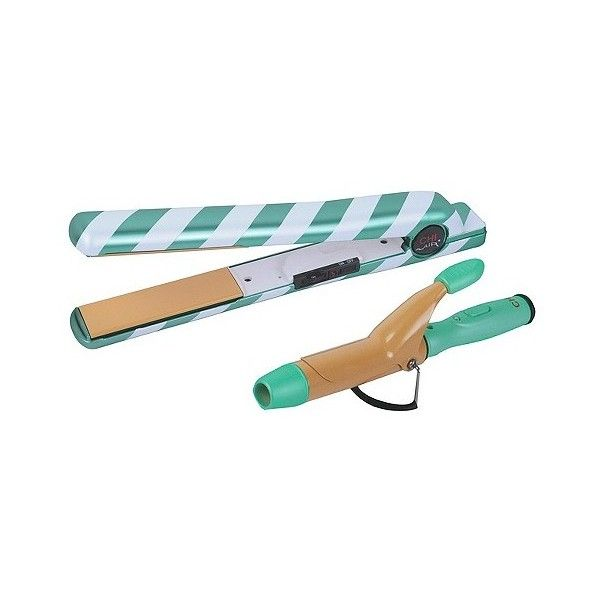 """CHI Air Classic """" Tourmaline Ceramic Flat Iron - Sweet Mint ($100) ❤ liked on Polyvore featuring beauty products, haircare, hair styling tools, blow dryers & irons, green, flat iron, flat curling iron, straight iron, curling iron and styling iron"""