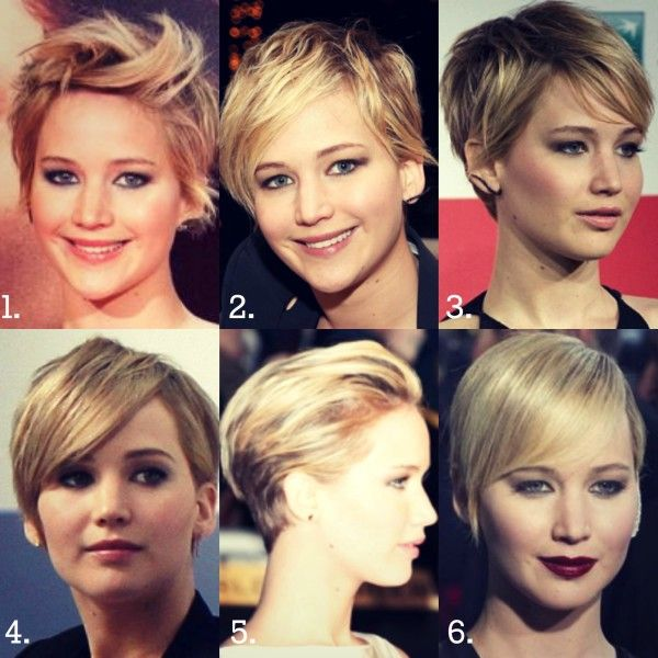 Jennifer Lawrence short haircut style variations.  6 easy ways to style your short haircut - Offbeat Home