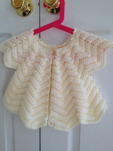 Emmys Baby Cardigan (Free Pattern) from MonkeyBooBoo. This is so precious! Fits a 1 yr old   Materials: Baby yarns (Bernat Softee Baby – Antique White),  Size G hook, A button