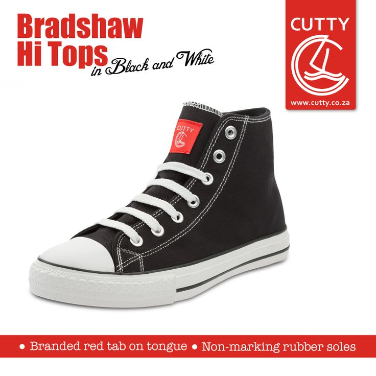 Get with the high-top hype. Meet the newest member to Cutty's sneaker collection, Bradshaw High-Tops. Made with non-marking rubber soles, these classic sneakers have durable, canvas uppers and a branded red tab on the tongue.