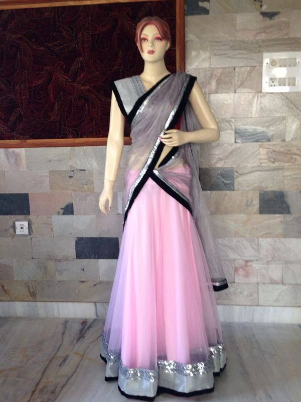 Pink net ghagra, grey net chunni and blouse