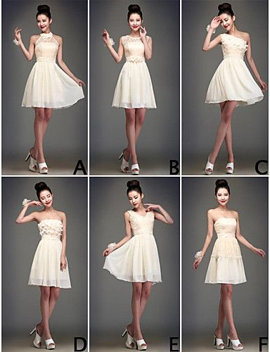 Mix & Match Dresses Chiffon Knee-length 5 Styles Bridesmaid Dresses   – USD $ 39.99
